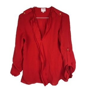 Parker 100% Silk Blouse Red 3/4 Sleeve Small